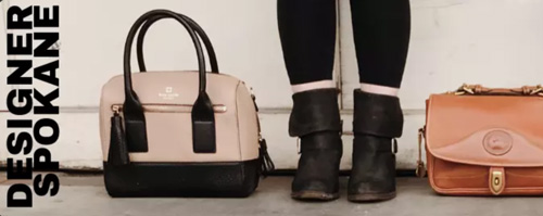 2 designer handbags on either side of a woman in black boots.