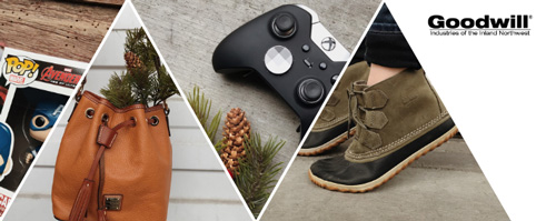 Collage of photos including an Avengers toy, leather bag, x box controller, and rain boots.